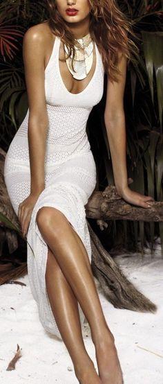 slime white long dress