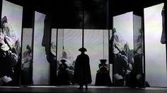 """roadtostagedesigner: """"For the set design five rotating reflective panels were arranged in two rows into the depth of the stage. Set Design Theatre, Stage Design, Concert Lights, The Merchant Of Venice, Pop Up Art, Photography Exhibition, Projection Mapping, Scenic Design, Design Museum"""