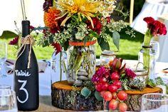 Rustic Centerpiece  Fall Wedding Flowers   Centerpiece  In Full Bloom by MJL