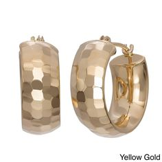 Precisely diamond cut, these wide hoop earrings are stylish and subtle, accenting any type of fashion. Made of 14k gold, these earrings are completed by a saddle back clasps.