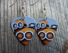 Group of Minions Guitar Pick Earrings by ItsYourPick on Etsy