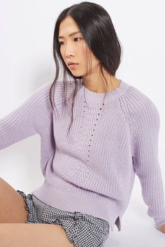 Add a pop of colour to your casual knitwear with this ribbed pointelle detail boxy jumper in a pretty lilac. With a crew neck, it comes in a boxy fit we've thrown over gingham shorts for a trans-seasonal feel. #Topshop