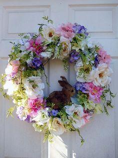 Easter Wreath Spring Wreath Easter Door Wreath Blended