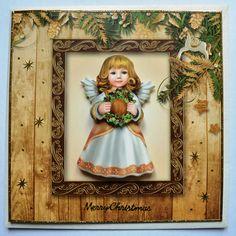 Weihnachten - 3D Karte Engel mit Kranz inkl. Umschlag - ein Designerstück von…