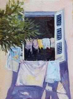 """Cuba: Through the Lens and Brush Show """"Laundry Day"""" 6x8 inch oil"""