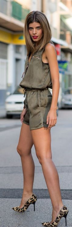 Olive Silk Romper Leo Stilettos by Ms Treinta Classy Outfits, Chic Outfits, Spring Outfits, Fashion Outfits, Womens Fashion, Pool Wear, Casual Chic Summer, Silk Romper, Everyday Fashion