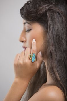 Jennifer Kalled, Boulder opal ring with tsavorite and topaz in 22k and 18k gold.  Boulder opals from Bill Kasso  www.kalledjewelrystudio.com