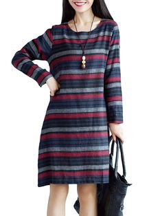 Stripe Printed Retro Style Breathable Long Sleeve Casual Dress Online - NewChic
