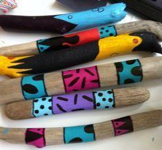 Hand painted sticks by Colette Connor Driftwood Jewelry, Driftwood Projects, Painted Driftwood, Driftwood Art, Spirit Sticks, Diy And Crafts, Arts And Crafts, Wooden Walking Sticks, Stick Art