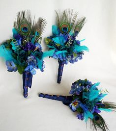 Turquoise Wedding Flowers | Peacock Turquoise Bridal Bouquets custom -3rd- Payment for Katrina