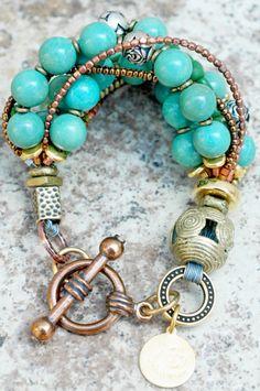 Custom Antique Turquoise, Brass and Gold Multi-Strand Bracelet.