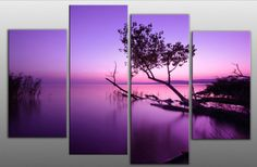 LARGE PURPLE TONE LAKE SPLIT CANVAS PICTURE MULTI PANEL