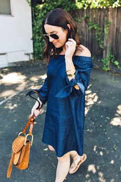 Le Fashion Blog Blogger Style Aviator Sunglasses Denim Off The Shoulder Dress Brown Bag Nude Sandals Via Cheetah Is The New Black