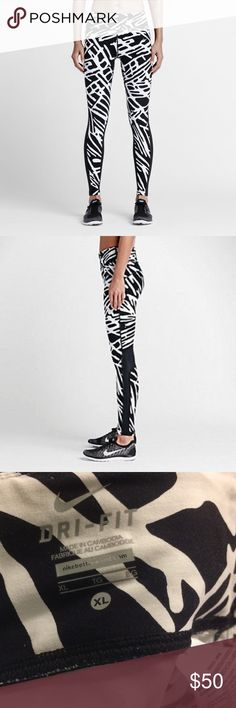 NIKE LEGGINGS Dri-fit Nike running leggings size XL. Design is called Palm epic. Suuuuper comfy, only worn a few times, in EXCELLENT condition! Has mesh on both legs, shown in second pic 😊 price is negotiable, just make an offer! Nike Pants Leggings