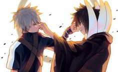 Kakashi Hatake and Obito Uchiha Naruto Kakashi, Anime Naruto, Naruto Teams, Naruto Boys, Madara Uchiha, Naruto Shippuden Anime, Team Minato, Ninja, Narusasu