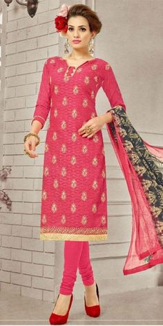 Vibrant Pink Cotton Straight Suit With Dupatta.