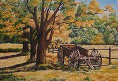 """Carro sul prato"" olio su tela (50 x 70)"