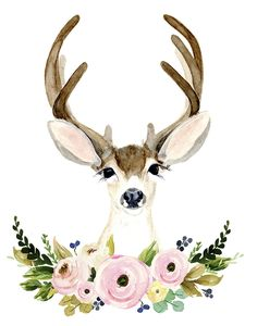 Trendy Watercolor Flower Art For Kids To Draw Watercolor Flowers, Watercolor Paintings, Drawing Flowers, Deer Drawing, Deer Art, Nursery Art, Flower Nursery, Flower Art, Flower Crown