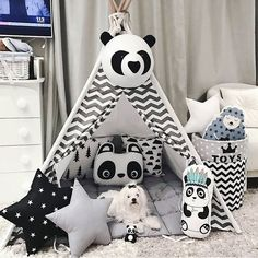 Panda stuffed animal head for wall mount baby room decor by KudikisBabyBedding Everything for nursery decor and baby room decoration boys and girls you can see in our store