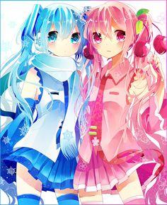Snow Miku and Sakura Miku ❄~