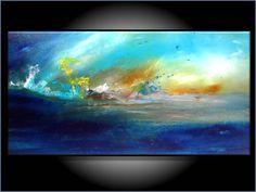 Beautiful Vibrant Modern Abstract Large 18x36 by RenaeSchoeffelArt