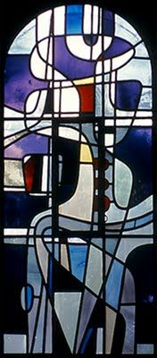 Abstract stained glass windows (c. 1956-1959). Immaculate Heart of Mary Church in Weert, Netherlands.