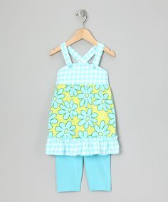Look what I found on #zulily! Aqua Gingham Floral Tank & Leggings - Toddler by Sweet Potatoes #zulilyfinds