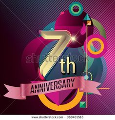 7th Anniversary, Party poster,  party invitation - background geometric glowing element. Vector Illustration - stock vector