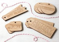 Holiday Gift Tags - Set of 9 modern engraved wood gift tags. $15.00, via Etsy.