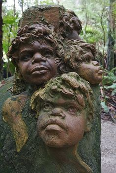 William Ricketts Sanctuary in the Dandenongs. 92 ceramic kiln-fired clay sculptures of Aboriginal figures and animals discreetly set among rocks, fern trees and mountain ash trees merge with the natural surroundings. The sculptures are an expression of Rickett's philosophy - that all people need to act as custodians of the natural environment in the same way as Aborigines, the inspiration for much of his work.