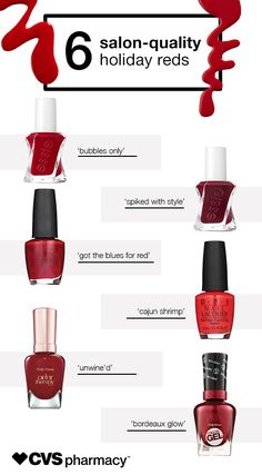 Keep your nails covered in the latest shades and styles without spending hours at the salon or fighting big department store crowds. Choose from the hottest nail polish colors for the season, featuring ravishing reds from some of the most talked about brands, including Essie, OPI, and Sally Hansen. The best part? They're affordable, convenient, and you can pick them up at your local CVS Pharmacy.