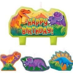 Make a birthday cake to go down in history! Prehistoric Dinosaurs Birthday Candles feature a large molded candle with a Triceratops and T-Rex. Dinosaur Party Supplies, Dinosaur Birthday Party, It's Your Birthday, Dinosaur Balloons, Dinosaur Cake Toppers, Prehistoric Dinosaurs, Happy Birthday Candles, Candle Set, T Rex