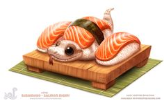 The very cute and colourful food animals were the creation of Canadian artist Piper Thibodeau and are part of the Daily Painting series. Cute Animal Drawings, Kawaii Drawings, Cute Drawings, Cute Art, Pretty Art, Animal Puns, Animal Food, Cute Reptiles, Cute Snake