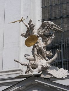 Archangel Michael Statue at St. Michael's Church. Vienna, Austria.