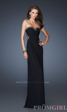 Strapless Open Back Gowns, La Femme Sexy Prom Dresses- PromGirl