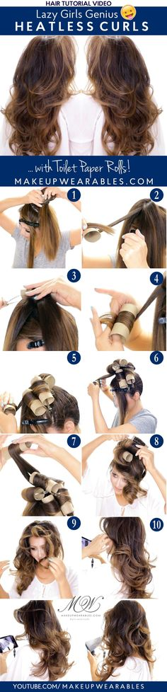 Genius Toilet Paper Roll Heatless Curls | #hairstyles