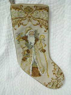 Needle Point Stocking Old World Santa. www.kathysholiday.com