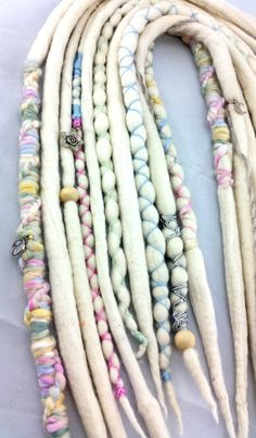 10 white woolen dreads with pastel accents dread by meeeeowthreads