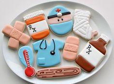 Medical Cookies by SweetSugarBelle Fancy Cookies, Iced Cookies, Royal Icing Cookies, Cut Out Cookies, Cupcake Cookies, Sugar Cookies, Fondant Cupcakes, Nurse Cookies, Galletas Cookies