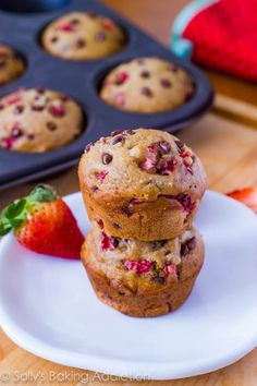 Skinny Strawberry Chocolate Chip Muffins  makes 10 muffins  1 and 1/4 cups all-purpose flour   1/2 teaspoon baking soda   1/2 teaspoon ground cinnamon   1/4 cup granulated sugar   1/4 cup light brown sugar, packed   1/2 cup + 2 Tablespoons unsweetened applesauce   1 egg white, beaten   2/3 cup diced strawberries   1/3 cup mini chocolate chips   Preheat oven to 350F degrees. Spray 10 muffin tins with nonstick cooking spray. Set aside.  In a large bowl, gently toss the flour, baking soda, and…