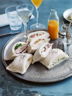 gorgonzola, pickled pear and thyme tramezzini (Venetian tea sandwiches)... sub walnuts for thyme tramezzini and don't pickle pear maybe? simple yet complex flavor