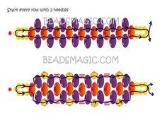 Easy 2-needle superduo bracelet from beadsmagic   ~ Seed Bead Tutorials