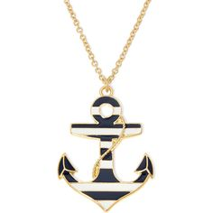 Liz Claiborne Stripe Anchor Gold-Tone Pendant Necklace ($15) ❤ liked on Polyvore featuring jewelry, necklaces, pendant necklace, nautical necklace, anchor jewelry, long pendant and long necklace