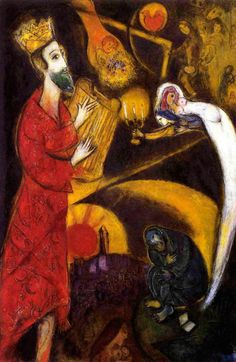 russian-style:  Marc Chagall - King David with artist  Sudden love to Chagall.