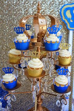 It's a ROYAL affair. Custom made cupcake liners and crown cupcake toppers.