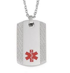 Provided with a free presentation / gift box, this medical ID necklace is made from stainless steel and is supplied with a choice of chain sizes as standard.