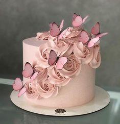 79 Amazing cake inspiration for special celebration - birthday cake ideas, celebration cakes Butterfly Birthday Cakes, Birthday Cake With Photo, Birthday Cake With Flowers, 16 Birthday Cake, Beautiful Birthday Cakes, Butterfly Cakes, Beautiful Cakes, 18th Birthday Cake For Girls, Cake With Butterflies