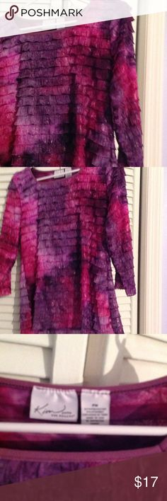 Multi colored mid sleeve ruffled blouse shirt 97% polyester, 3%spandex, shiny, flowing, ruffled blouse Kim Rogers Tops Blouses