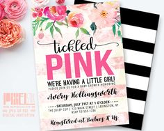 Floral Baby Shower Invitation Tickled Pink Baby Sprinkle Invite Tea Stained Blush Stripes Watercolor Flower Girl - PRINTABLE INVITATION by shopPIXELSTIX on Etsy
