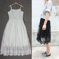 Spring and summer new Korean yards long section of loose stitching Slim lace camisole dress bottoming skirt female - Taobao